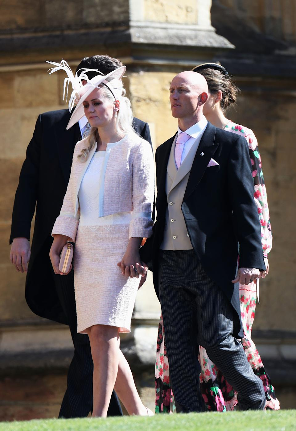 WINDSOR, ENGLAND - MAY 19:  Dean Stott (R) arrives at the wedding of Prince Harry to Ms Meghan Markle at St George's Chapel, Windsor Castle on May 19, 2018 in Windsor, England.  (Photo by Chris Jackson/Getty Images)