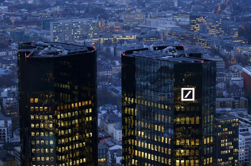 FILE PHOTO: The headquarters of Germany's Deutsche Bank is photographed early evening in Frankfurt