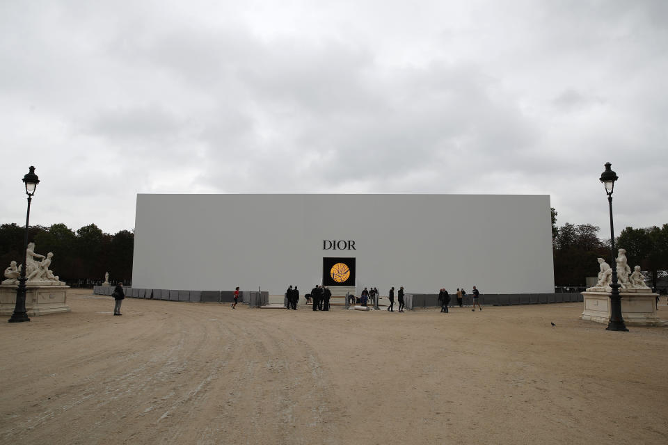 The venue of Dior's Spring-Summer 2021 fashion collection is pictured Tuesday, Sept. 29, 2020 before the show during the Paris fashion week. (AP Photo/Francois Mori)