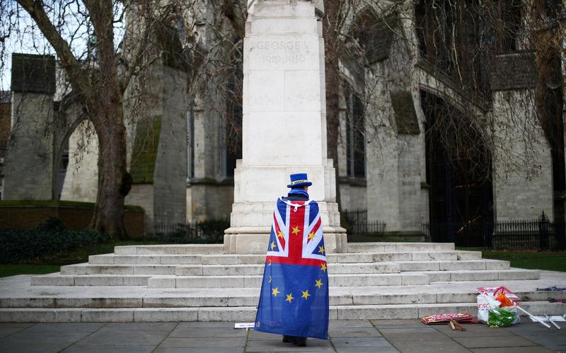 FILE PHOTO: An Anti-Brexit demonstrator protests outside the Houses of Parliament, in Westminster, London, Britain March 4, 2019. REUTERS/Hannah McKay/File Photo