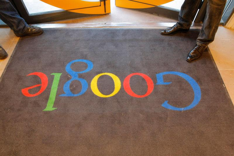 A Google carpet is seen at the entrance of the new headquarters of Google France before its official inauguration in Paris