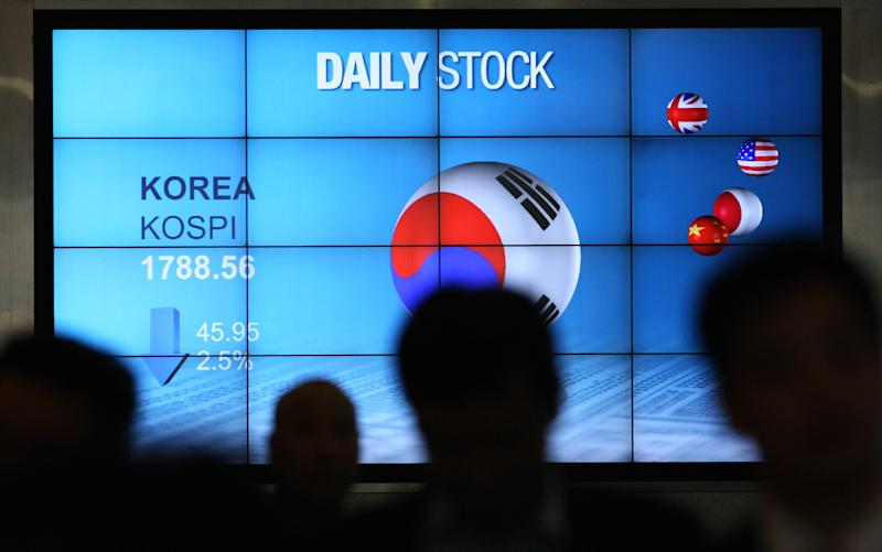 People walk past in front of the screen showing Korea Composite Stock Price Index (Kospi) in Seoul, South Korea, Monday, June 4, 2012. Asia stock markets took a beating Monday as signs that the U.S. economic recovery might be shifting into reverse sent investors fleeing. The benchmark Korea Composite Stock Price Index (KOSPI) dropped 2.60 percent, or 47.63 points, to 1,786.88. (AP Photo/Ahn Young-joon)