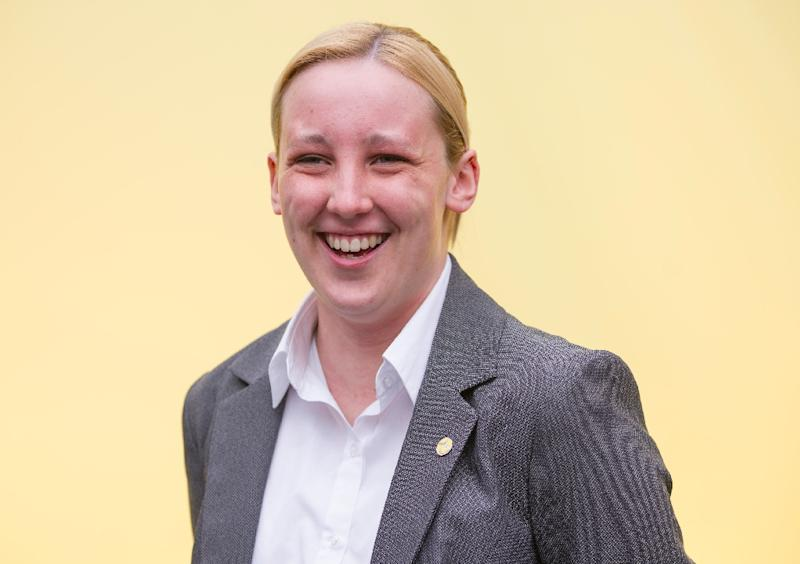 Scottish National Party candidate for Paisley and Renfrewshire South, Mhairi Black poses at the launch of the SNP election manifesto in Edinburgh on April 20, 2015 (AFP Photo/Lesley Martin)