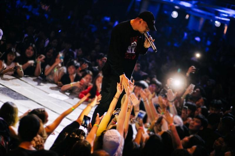 "Rapper Prinya ""DaBoyWay"" Intachai at a concert in Bangkok"