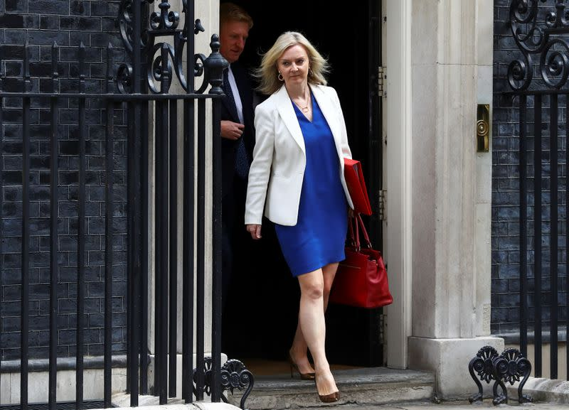 FILE PHOTO: Britain's Secretary of State of International Trade and Minister for Women and Equalities Liz Truss leaves Downing Street, in London