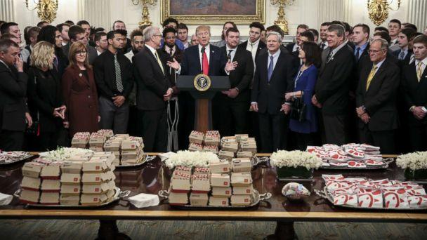 Trump is greeting football players at the White House with fast food — again