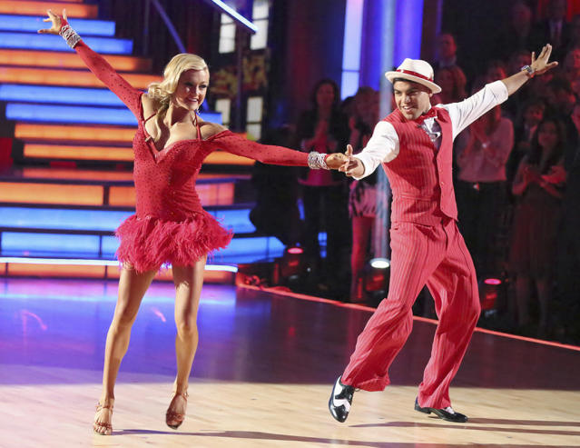 """Lindsay Arnold and Victor Ortiz perform on """"Dancing With the Stars."""""""