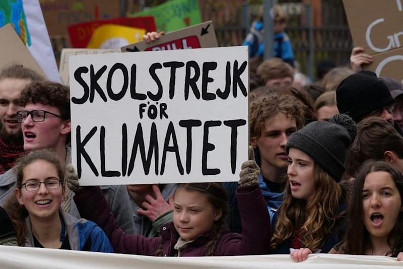 Greta Thunberg at the front banner of the FridaysForFuture demonstration Berlin in 2019. Image credit: Leonhard Lenz/Wikimedia Commons.