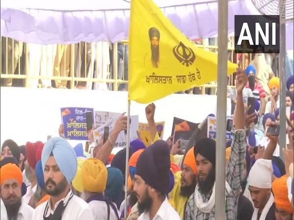 Visual of the Khalistani flags, posters inside the Golden Temple. (Photo/ANI)