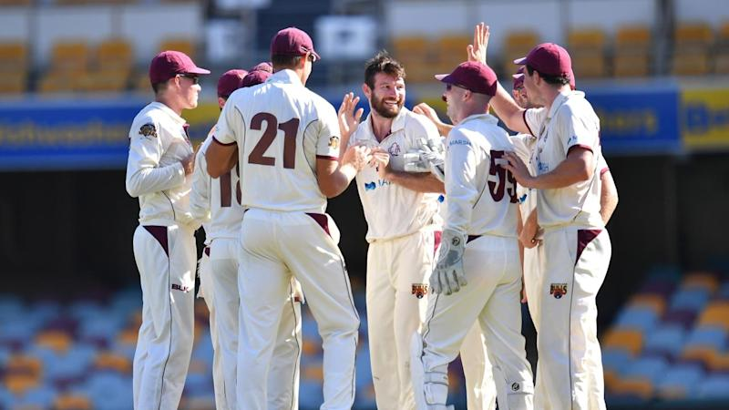 Queensland, led by Michael Neser (C), are ripping through Tasmania's batsmen in their Shield match