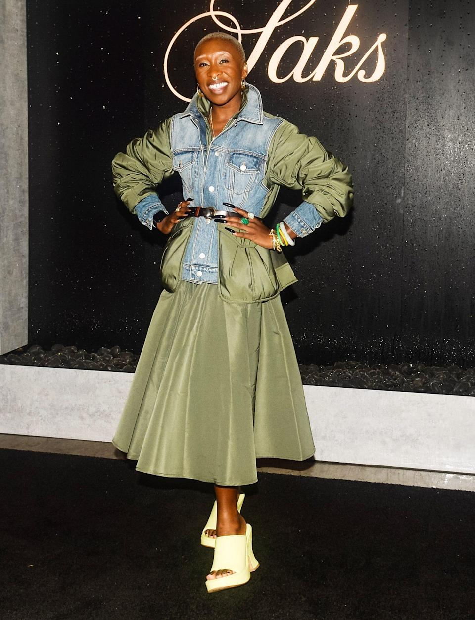 <p>Cynthia Erivo steps out in a denim and olive Alexander McQueen ensemble to celebrate Summer in the Hamptons with Saks at the Parrish Art Museum in Water Mill on July 14.</p>