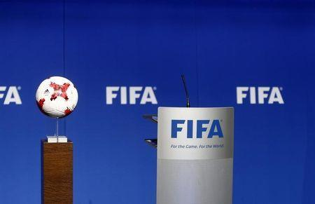 The stage for FIFA President Gianni Infantino is seen before a news conference after a FIFA Council in Zurich, Switzerland, January 10, 2017. REUTERS/Arnd Wiegmann