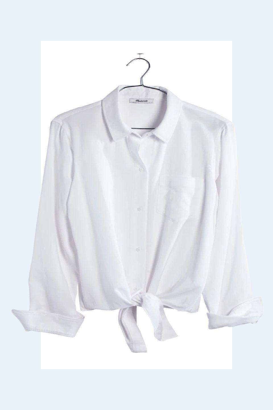 """<p><a rel=""""nofollow noopener"""" href=""""https://www.madewell.com/white-tie-front-shirt-F3219.html"""" target=""""_blank"""" data-ylk=""""slk:SHOP NOW"""" class=""""link rapid-noclick-resp"""">SHOP NOW</a> <em>Madewell Tie Front Shirt, $79.50</em></p><p>""""A crisp white button down is the perfect piece every woman should have. It looks polished but can be worn running errands, and it can go from day to night. It's a hero piece."""" -<em><a rel=""""nofollow noopener"""" href=""""http://theonly.agency/negar-ali-kline"""" target=""""_blank"""" data-ylk=""""slk:Negar Ali Kline"""" class=""""link rapid-noclick-resp"""">Negar Ali Kline</a></em><br></p>"""