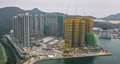 Wheelock Properties' Ocean Marini apartment complex, covered in yellow, at the Lohas Park residential enclave in Tseung Kwan O as of February 2. Photo: Martin Chan