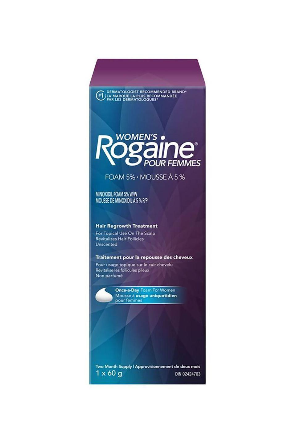 "<p><strong>Rogaine</strong></p><p>amazon.com</p><p><strong>$20.09</strong></p><p><a href=""https://www.amazon.com/dp/B0009RF9OG?tag=syn-yahoo-20&ascsubtag=%5Bartid%7C10058.g.25647514%5Bsrc%7Cyahoo-us"" rel=""nofollow noopener"" target=""_blank"" data-ylk=""slk:SHOP IT"" class=""link rapid-noclick-resp"">SHOP IT</a></p><p>When you hear ""Rogaine,"" you might think ""for men,"" but Dueñas says it's a huge help in creating a thicker and fuller hairline for women—and can stop hair loss and baldness. Dr. Engelman is also a fan of Rogaine and <a href=""https://www.walgreens.com/store/c/nizoral-a-d-ketoconazole-anti-dandruff-shampoo/ID=prod6098189-product"" rel=""nofollow noopener"" target=""_blank"" data-ylk=""slk:Ketoconazole"" class=""link rapid-noclick-resp"">Ketoconazole</a>, another over the counter option.<strong> In a <a href=""https://www.ncbi.nlm.nih.gov/pubmed/9669136"" rel=""nofollow noopener"" target=""_blank"" data-ylk=""slk:study"" class=""link rapid-noclick-resp"">study</a>, researchers discovered that 2 percent of Ketoconazole shampoo increased the size and proportion of anagen hair follicles</strong> (hair that's in its growth phase). </p>"