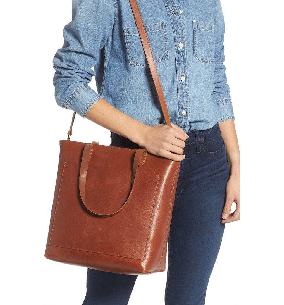 <p>This <span>Madewell Zip-Top Medium Transport Leather Tote</span> ($178) is a spacious, office-ready option.</p>