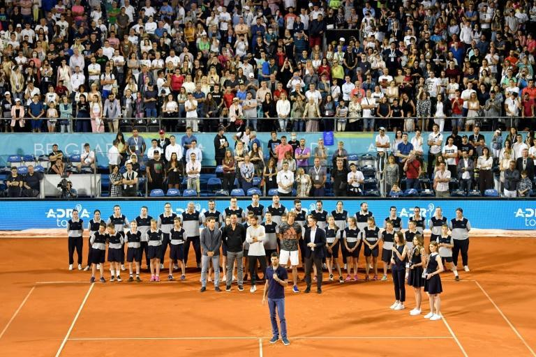 Novak Djokovic gives a speech at his ill-fated Adria Tour event in Belgrade in June