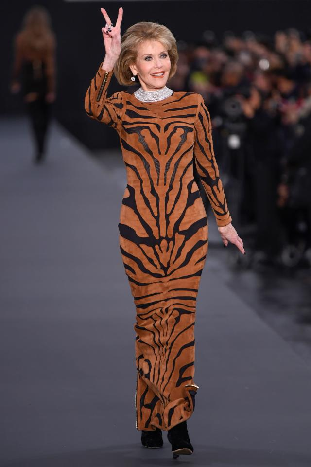 <p>The 79-year-old star wowed in a slim-fitting tiger print dress. (Photo: Getty Images) </p>