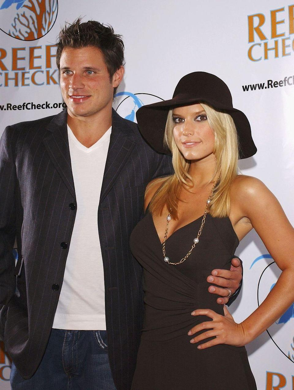 """<p>Jessica Simpson and Nick Lachey <a href=""""http://www.eonline.com/news/866236/why-jessica-simpson-and-nick-lachey-ever-married-each-other-in-the-first-place-and-then-did-a-reality-show"""" rel=""""nofollow noopener"""" target=""""_blank"""" data-ylk=""""slk:tied the knot"""" class=""""link rapid-noclick-resp"""">tied the knot</a> on October 26, 2002, which spawned the reality show <em>Newlyweds: Nick and Jessica</em>. The show became a pop culture phenomenon, but the pair split in 2006. </p>"""