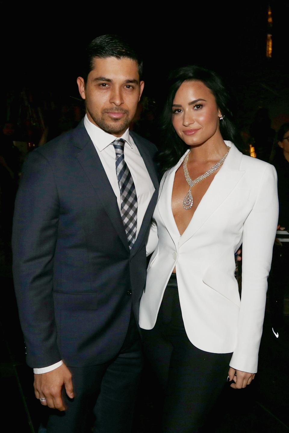 """<p>These days, Demi Lovato is exploring the pursuit of self-love with their new song, """"Anyone."""" But they've also sung about their previous romantic relationships, from <em>Camp Rock </em>co-star Joe Jonas to longtime love Wilmer Valderrama. During a 2018 <a href=""""http://www.instyle.com/celebrity/demi-lovato-april-cover"""" rel=""""nofollow noopener"""" target=""""_blank"""" data-ylk=""""slk:InStyle"""" class=""""link rapid-noclick-resp""""><em>InStyle</em></a> interview, Lovato said they feel confident when <a href=""""https://www.elle.com/culture/celebrities/a19160999/demi-lovato-on-making-first-move-instyle/"""" rel=""""nofollow noopener"""" target=""""_blank"""" data-ylk=""""slk:looking for a relationship"""" class=""""link rapid-noclick-resp"""">looking for a relationship</a>. """"I'm normally the first one to make the move,"""" they said. """"I'm always the one who says, 'Let me get your number.' Or I slide into their DMs on Instagram."""" Below, a history of Lovato's loves, those pursued and otherwise. </p>"""