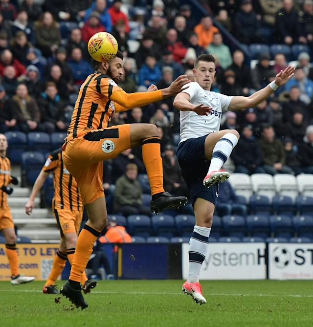 "Soccer Football - Championship - Preston North End vs Hull City - Deepdale, Preston, Britain - February 3, 2018 PrestonÕs Billy Bodin in action with Hull City's Michael Hector Action Images/Paul Burrows EDITORIAL USE ONLY. No use with unauthorized audio, video, data, fixture lists, club/league logos or ""live"" services. Online in-match use limited to 75 images, no video emulation. No use in betting, games or single club/league/player publications. Please contact your account representative for further details."