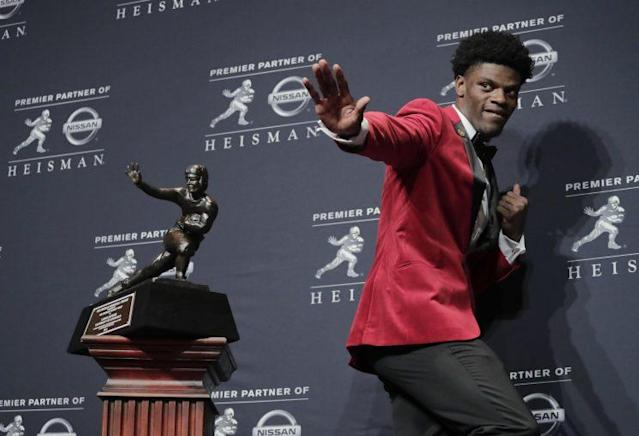 Lamar Jackson will try to somehow build off his Heisman-winning season. (AP)