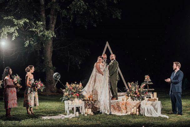 PHOTO: Rachel Borwegen and Andrew Jaworski wed in June in Belvidere, New Jersey. The party, photographed by Abigail Gingerale photography, included 90 guests and a drive-in movie. (Abigail Gingerale Photography)