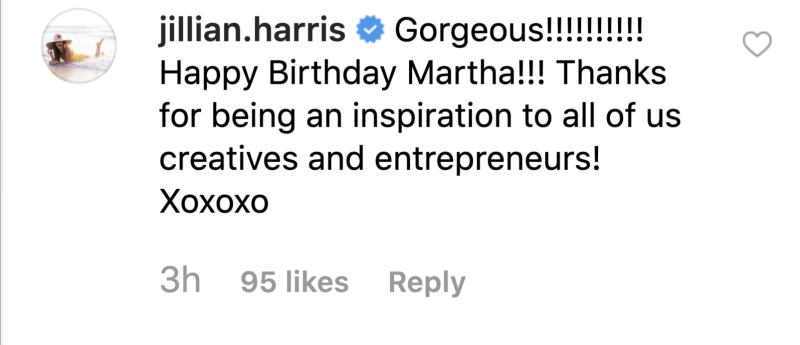 The Bachelorette star Jillian Harris wished Martha Stewart a happy 78th birthday. (Screenshot: Instagram)