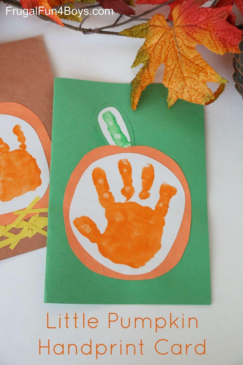 """<p>Far-away family will love this adorable greeting card. Use tiny hands to stamp out pumpkins (or red apples), and have kids write a personalized message. </p><p><em><a href=""""http://frugalfun4boys.com/2015/09/13/your-little-pumpkin-handprint-card-for-kids-to-make/"""" rel=""""nofollow noopener"""" target=""""_blank"""" data-ylk=""""slk:Get the tutorial at Frugal Fun for Boys and Girls »"""" class=""""link rapid-noclick-resp"""">Get the tutorial at Frugal Fun for Boys and Girls »</a></em> </p>"""
