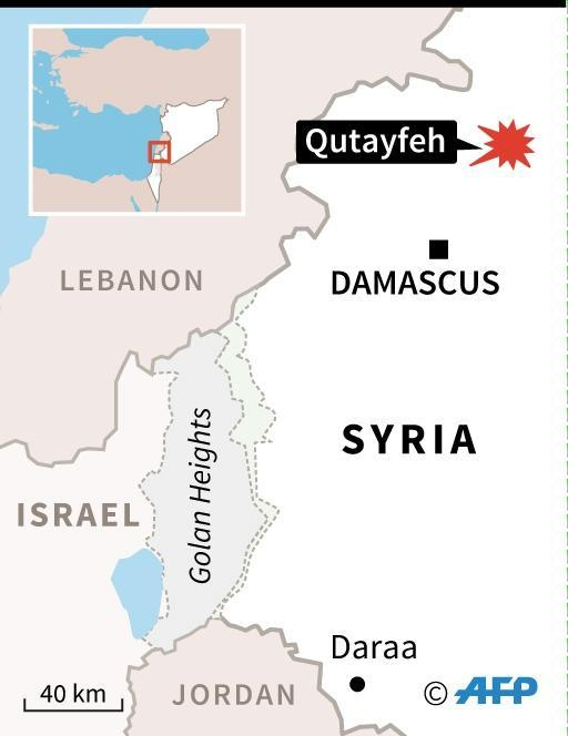 Map of southern Syria and northern Israel, locating a reported Israeli airstrike in the Qutayfeh area (AFP Photo/Jean Michel CORNU)