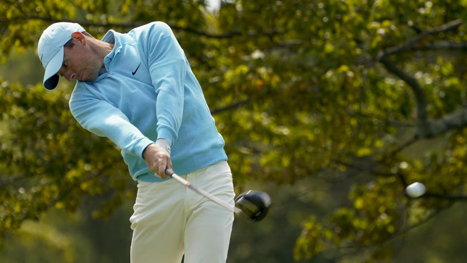 Rory McIlroy, of Northern Ireland, plays his shot from the second tee during the final round of the US Open Golf Championship, Sunday, Sept. 20, 2020, in Mamaroneck, N.Y. (AP Photo/Charles Krupa)