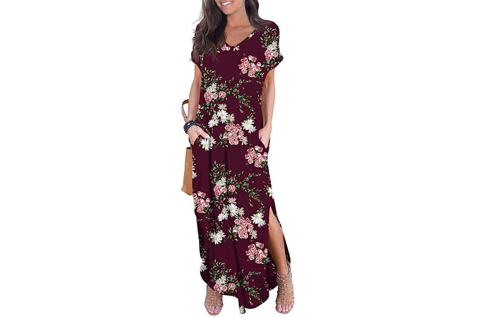 Grecerelle casual maxi dress in wine-colored floral
