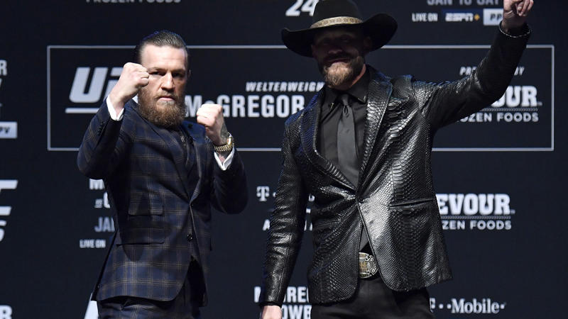 Conor McGregor and Donald Cerrone, pictured here at their UFC 246 press conference.