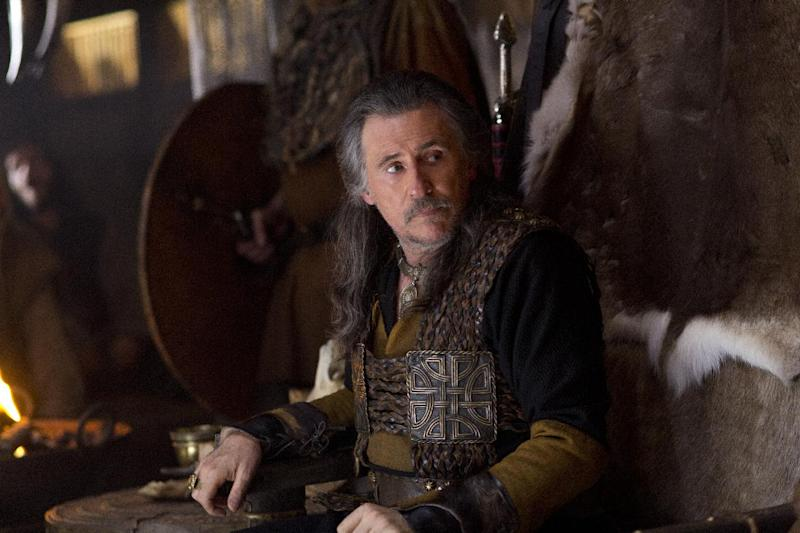 """This image released by History shows Gabriel Byrne as Earl Haraldson in a scene from """"Vikings,"""" premiering Sunday, March 3 on History. (AP Photo/History, Jonathan Hession)"""