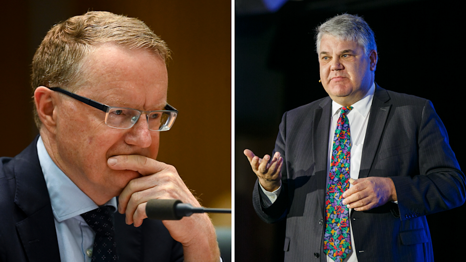 Left: RBA Governor Philip Lowe; Right: independent economist Stephen Koukoulas at Yahoo Finance's All Markets Summit 2019. (Source: AAP, Yahoo Finance)