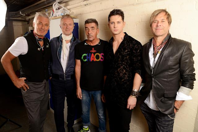 Martin Kemp, Gary Kemp, John Keeble, Ross William Wild and Steve Norman of Spandau Ballet backstage at the London Apollo in October 2018. (Getty Images)