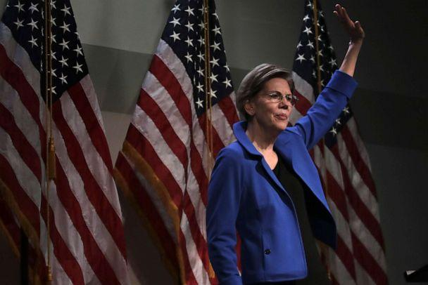 PHOTO: Democratic presidential candidate Sen. Elizabeth Warren waves after her address at the New Hampshire Institute of Politics in Manchester, N.H., Thursday, Dec. 12, 2019. (Charles Krupa/AP Photo)
