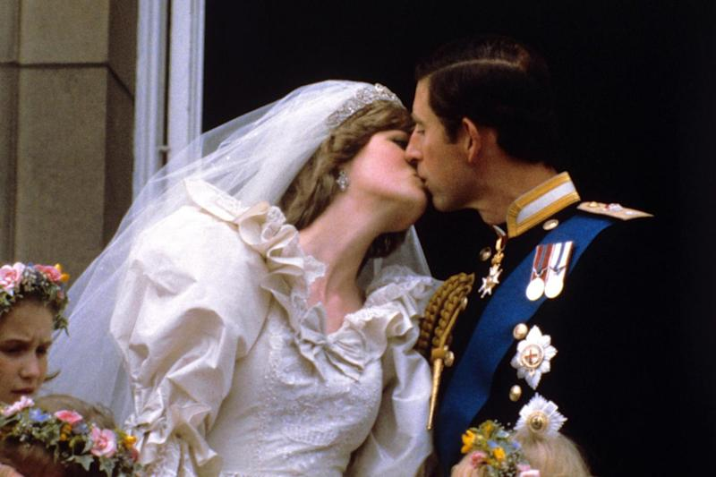 Princess Diana and Prince Charles on their wedding day at Buckingham Palace. (PA)