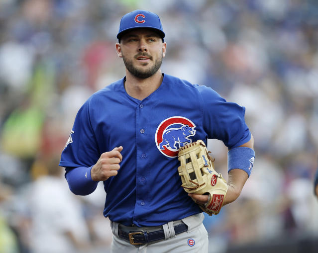"<a class=""link rapid-noclick-resp"" href=""/mlb/players/9558/"" data-ylk=""slk:Kris Bryant"">Kris Bryant</a> turned down a long-term offer from the <a class=""link rapid-noclick-resp"" href=""/mlb/teams/chc"" data-ylk=""slk:Cubs"">Cubs</a> worth more than $200 million according to multiple reports. (AP)"