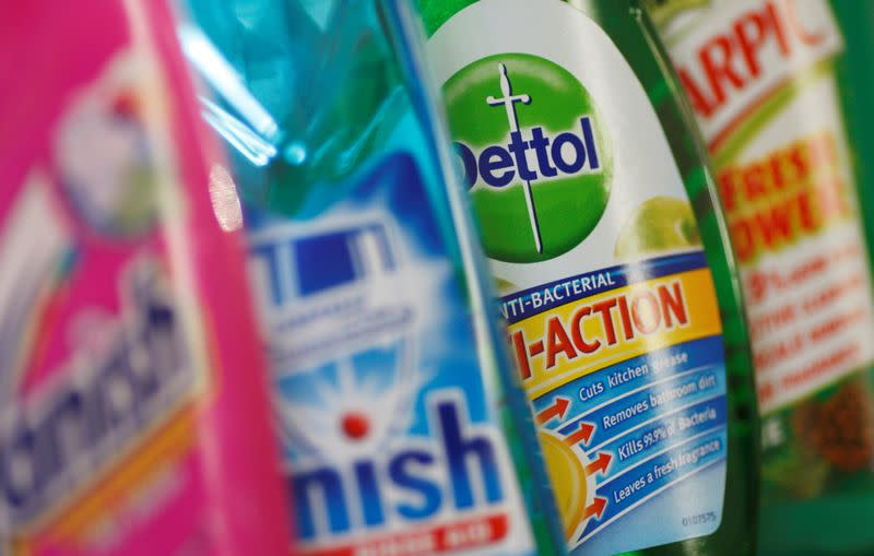 FILE PHOTO: Products produced by Reckitt Benckiser; Vanish, Finish, Dettol and Harpic are seen in London