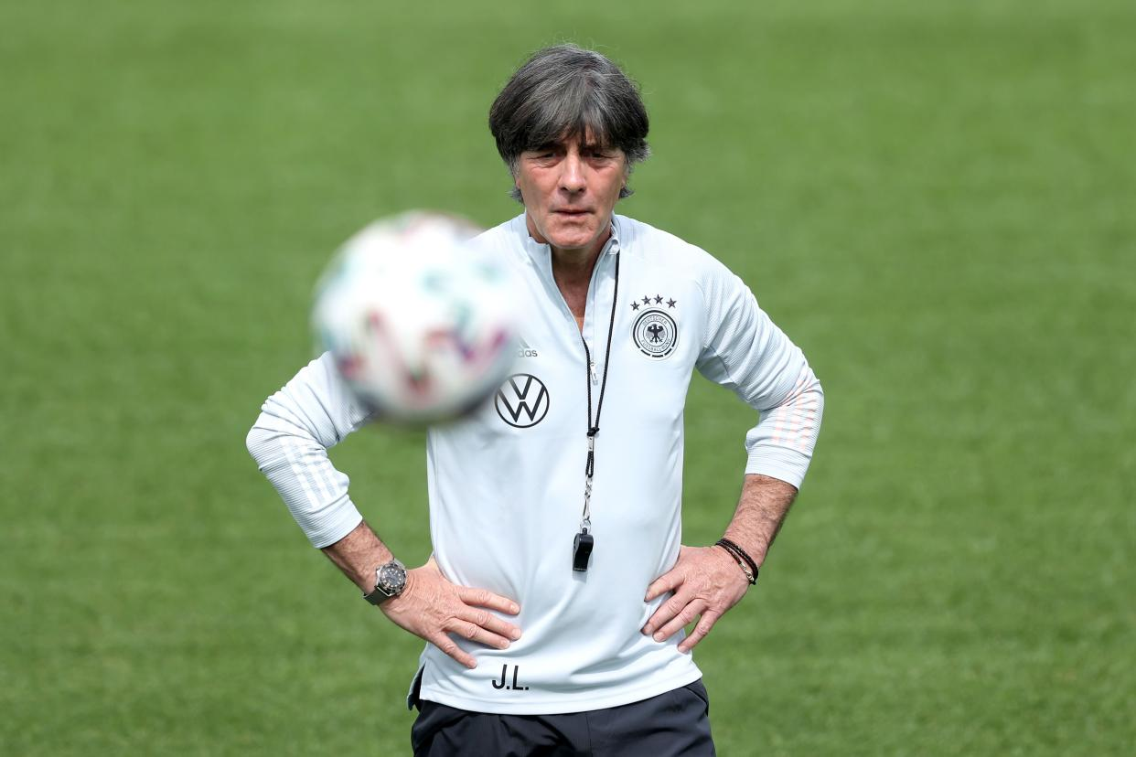 HERZOGENAURACH, GERMANY - JUNE 10: Joachim Löw, head coach of Germany looks on during a training session of the German national team at the EURO 2020 training camp at Herzo-Base on June 10, 2021 in Herzogenaurach, Germany. (Photo by Alexander Hassenstein/Getty Images)
