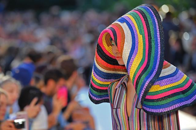 A model during Missoni's Spring/Summer 2018 fashion show in Milan on Sept. 23, 2017. (Photo: Marco Bertorello/AFP/Getty Images)