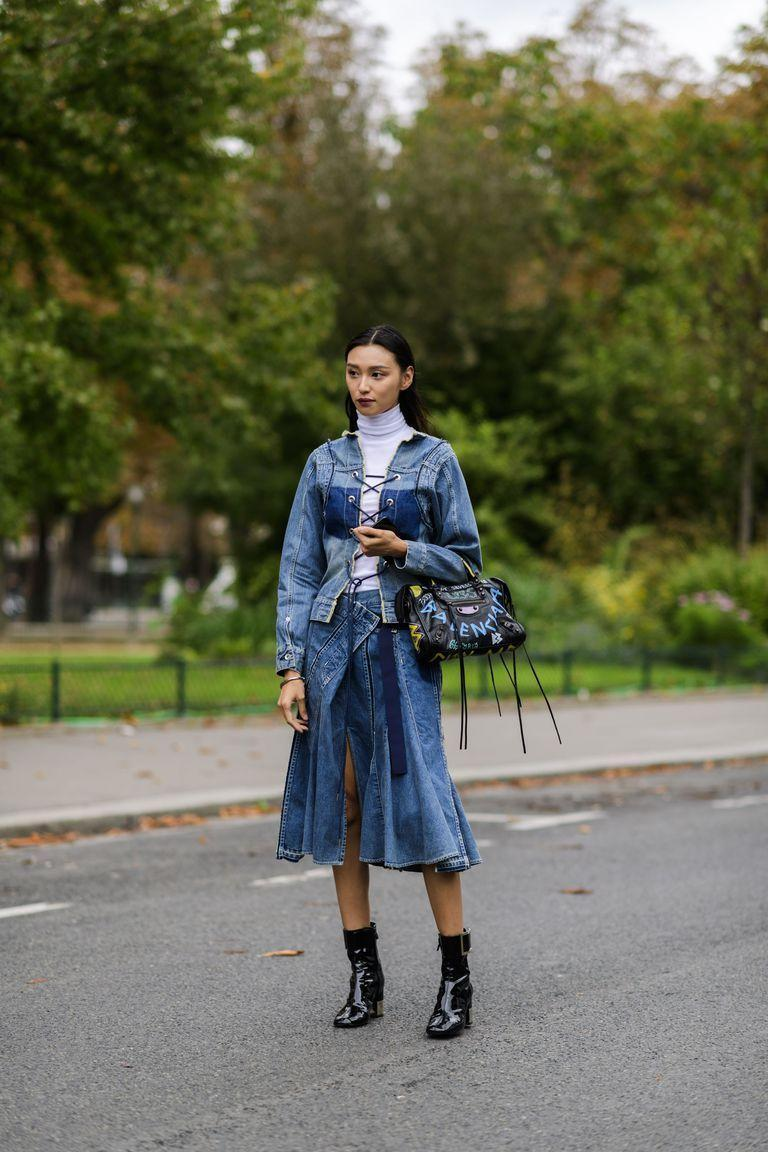<p>Patent ankle boots pair perfectly with denim—whether you want to wear them with a midi skirt or pair of jeans. </p>