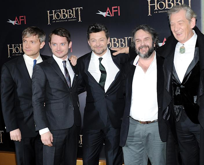 """Cast members, from left, Martin Freeman, Elijah Wood, Andy Serkis, director Peter Jackson and Ian McKellen attend the premiere of """"The Hobbit: An Unexpected Journey"""" at the Ziegfeld Theatre on Thursday Dec. 6, 2012 in New York. (Photo by Evan Agostini/Invision/AP)"""