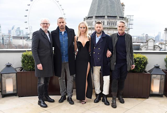 From left, director Francis Lawrence and stars Matthias Schoenaerts, Jennifer Lawrence, Joel Edgerton, and Jeremy Irons attend the <i>Red Sparrow</i> photo call at Corinthia Hotel London on Feb. 20, 2018. (Photo: David M. Benett/Dave Benett/Getty Images)