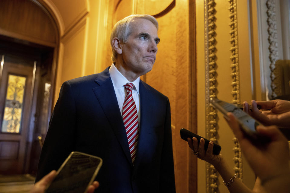 Sen. Rob Portman, R-Ohio, speaks to reporters after a luncheon with Senate Republicans at the Capitol in Washington, on Thursday, Aug. 5, 2021. (AP Photo/Amanda Andrade-Rhoades)