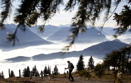 A woman takes a walk on Mount Rigi at 1,797 m (5,896 ft) above sea level, near Lake Lucerne, in this November 21, 2011 file photo. REUTERS/Christian Hartmann/Files