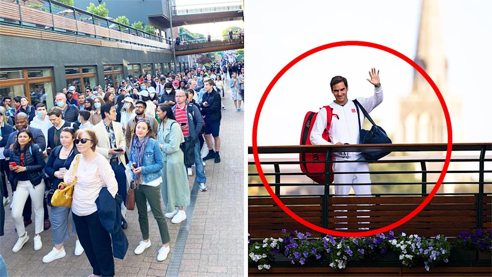 Tennis fans line up (pictured left) to see a glimpse of Roger Federer (pictured right) who waves as he walks across the bridge at Wimbledon.