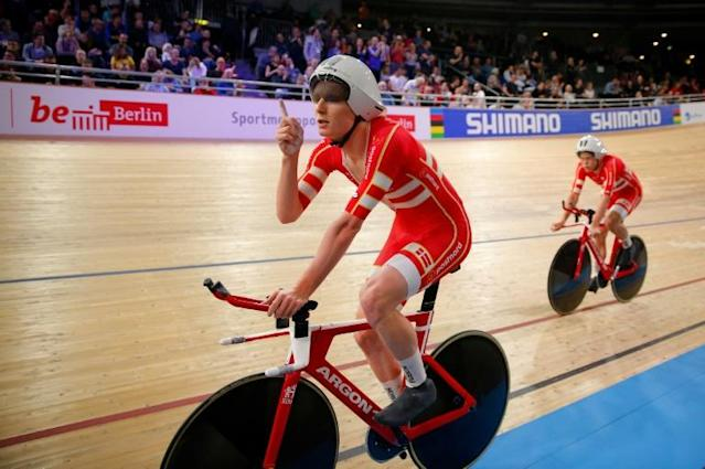 Denmark celebrate after setting a new world record in the men's team pursuit at the UCI track cycling World Championship (AFP Photo/Odd ANDERSEN)