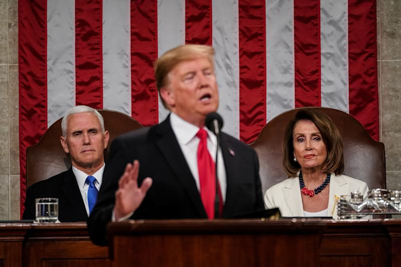FEBRUARY 5, 2019 - WASHINGTON, DC: President Donald Trump delivered the State of the Union address, with Vice President Mike Pence and Speaker of the House Nancy Pelosi, at the Capitol in Washington, DC on February 5, 2019. Doug Mills/Pool via REUTERS